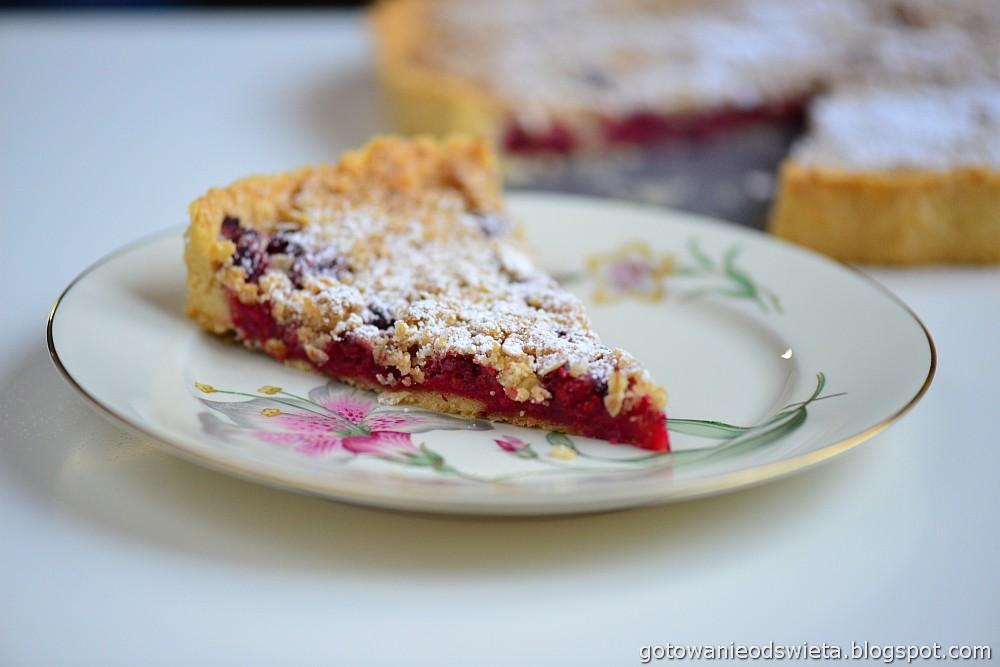 Tarta z malinami i cukrem i lodami