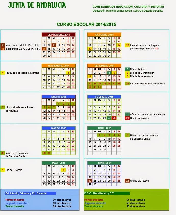 Calendario escolar curso 2014 15