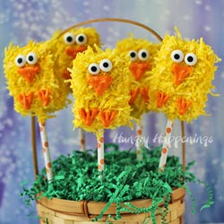 Fuzzy Chick Rice Crispy Treat Pops