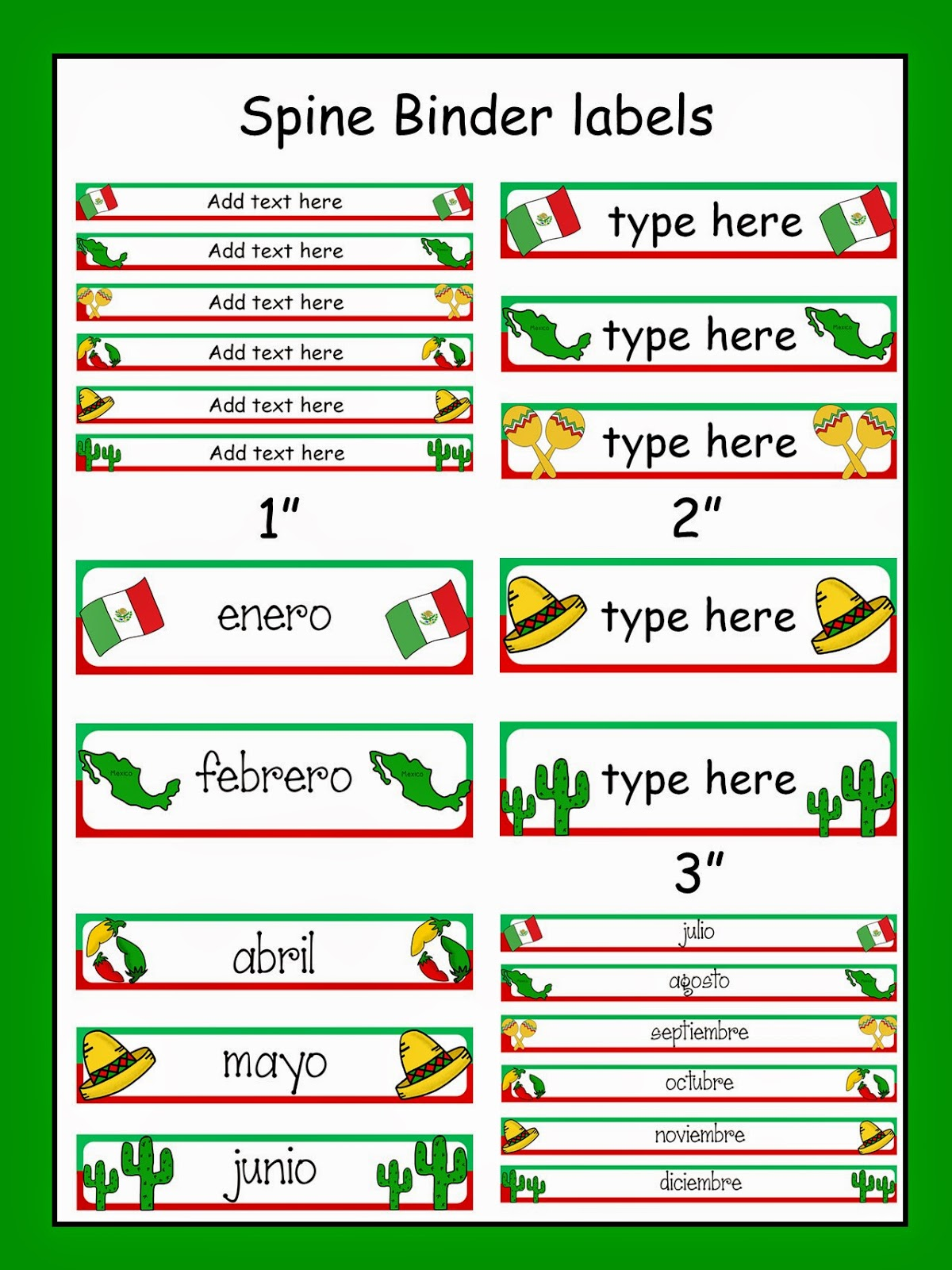 http://www.teacherspayteachers.com/Product/Celebrate-MEXICO-Editable-Binder-Labels-1123807