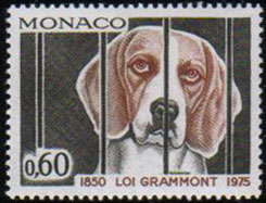 1975年モナコ公国 動物保護法125周年記念の切手