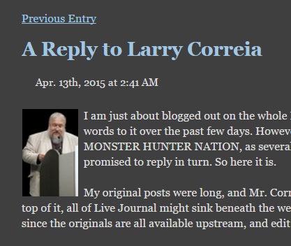 grrm not a blog post 13 april 2015 A Reply to Larry Correia