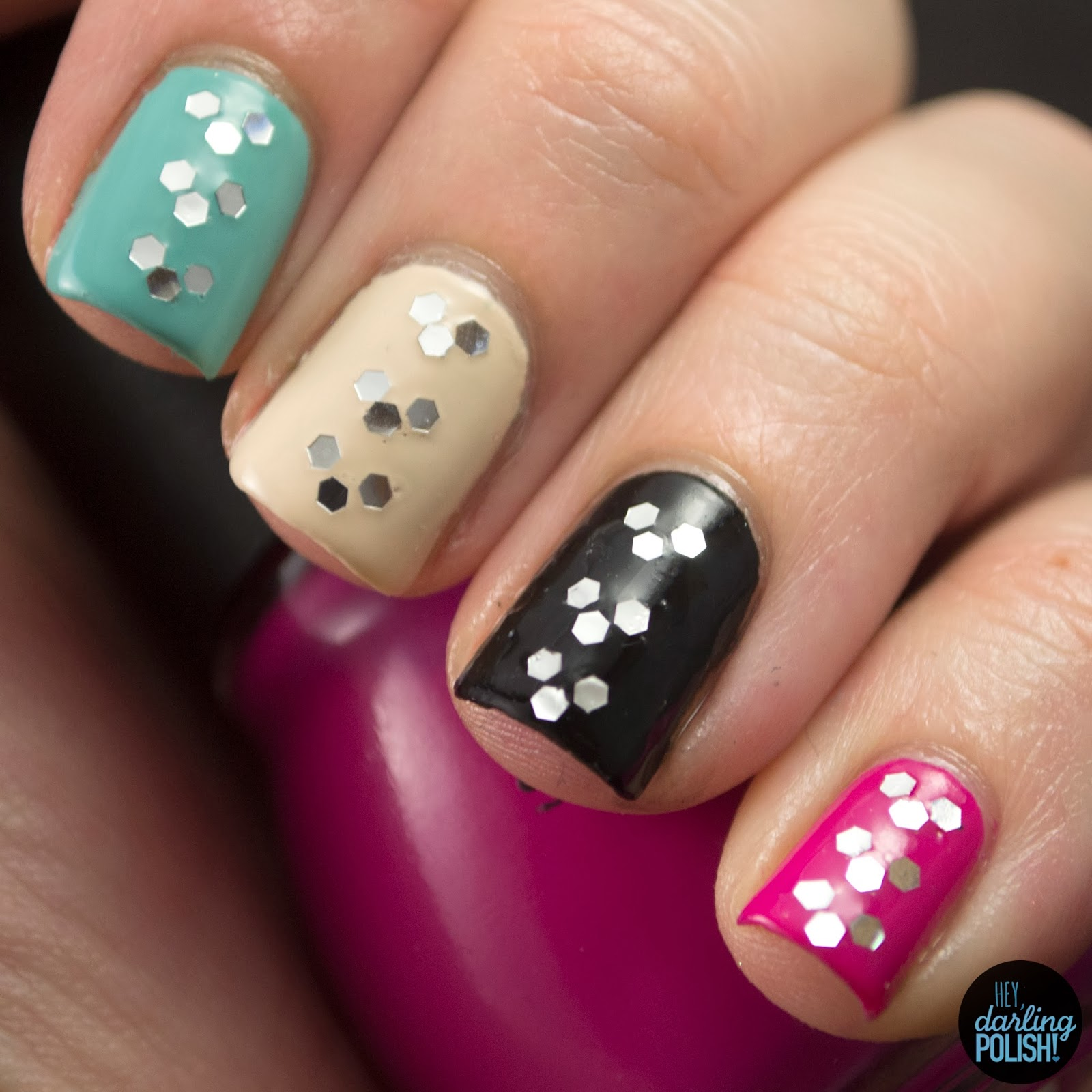 nails, nail art, nail polish, polish, glequins, hey darling polish, theme buffet