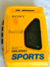 Yellow Sony Sports Cassette and Radio Walkman