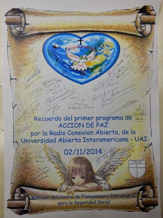 PERGAMINO DEL PRIMER PROGRAMA  DE ACCIÓN DE PAZ