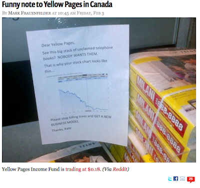 Pile of Yellow Pages books with note posted next to it saying they should get a new business model and showing a graph of their stock price, which goes straight down