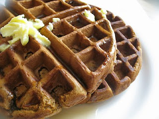 pumpkin gingerbread waffles