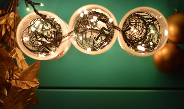 Decoração de Natal - rapida facil barata copos pisca pisca ceia mesa