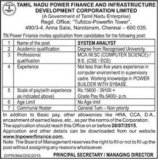 Applications are invited for System Analyst Post in Tamil Nadu Power Finance and Infrastructure Development Corporation Ltd Chennai