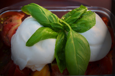 Heirloom tomatoes, burrata cheese and basil by lb for l&l