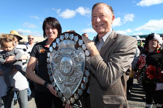 L-R: Emma Oliver, Craig Hickson, Progressive Meats, principal sponsor - Parade in Hastings for the Hawke's Bay Magpies rugby team, followed by a mayoral reception, civic reception at Civic Sqaure. Winners of the Ranfurly Shield, after beating Otago 20-19 in Dunedin on Sunday photograph