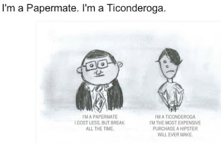 cartoon sketch of Papermate Pencil man vs. Ticonderoga Pencil Man