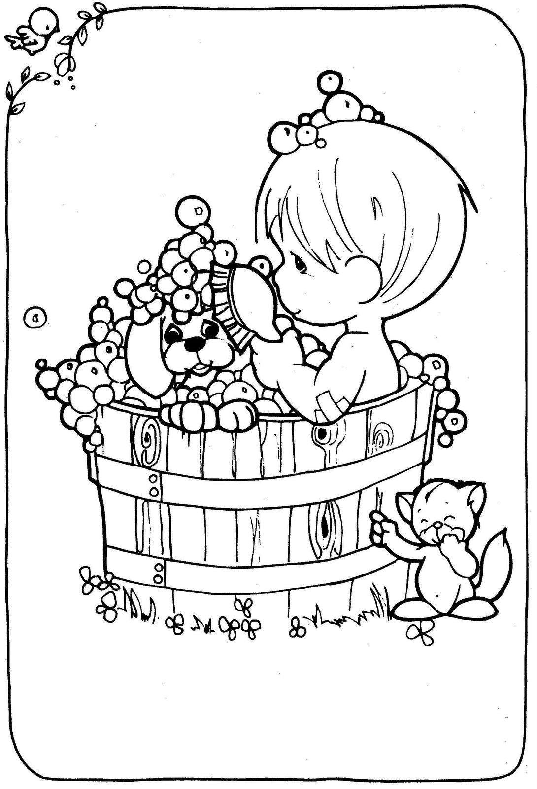 Illustration of child taking a bath precious moments ...