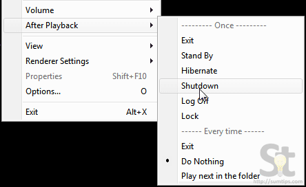 Shutdown or Hibernate Computer After Playback Finishes