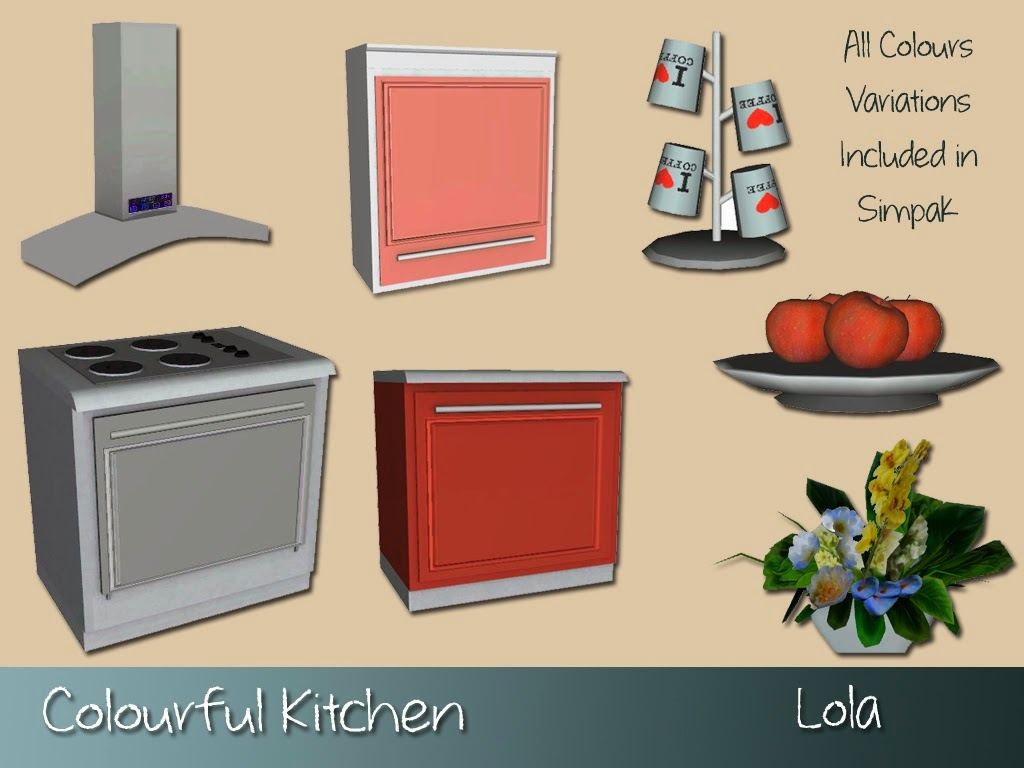 My sims 3 blog colourful kitchen set by lola for My kitchen set