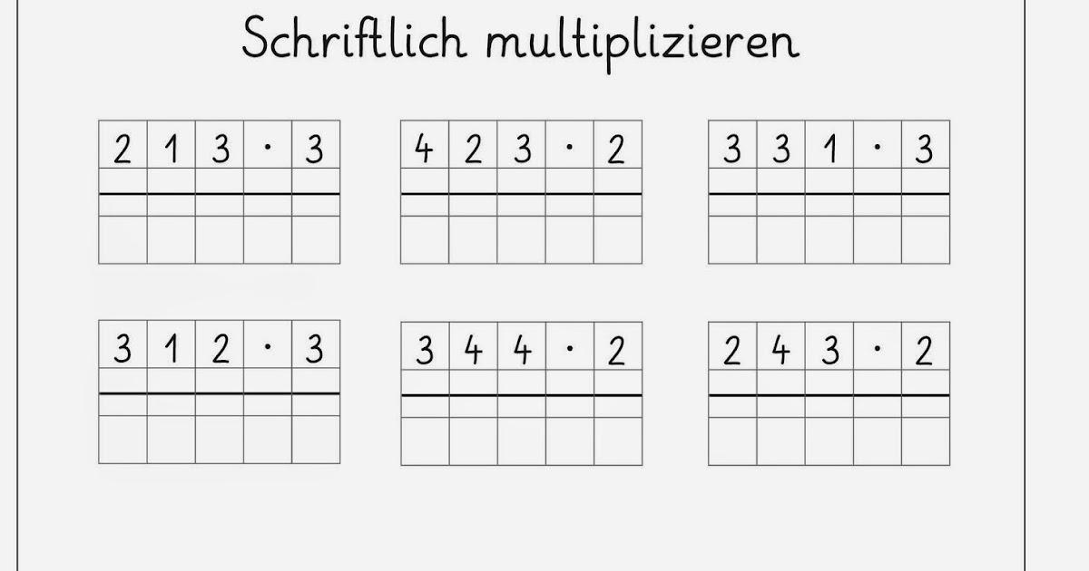 Schriftliche Multiplikation Arbeitsblatter Kostenlos - Carterdigital ...
