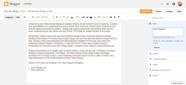 Langkah-langkah membuat label di blogspot