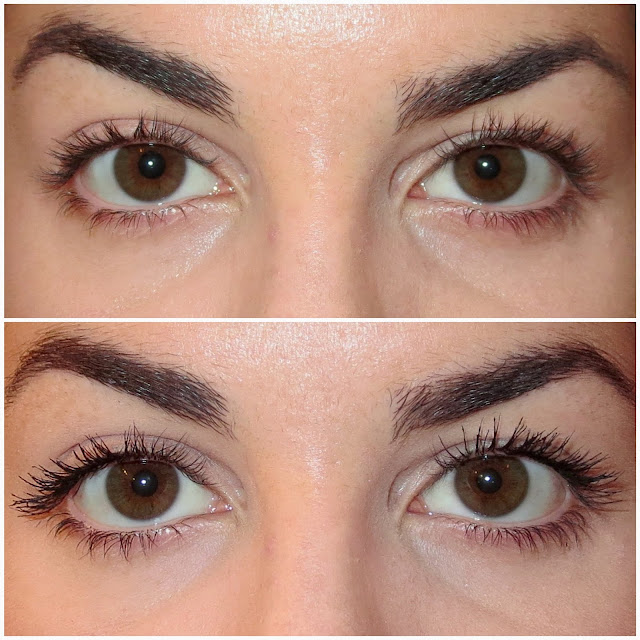 a picture of Maybelline Colossal Chaotic Lash (before & after)