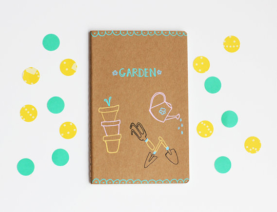 hand-drawn garden notebook