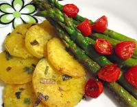 Aspargo, Mandioquinha e Tomate-Cereja Grelhados (vegana)