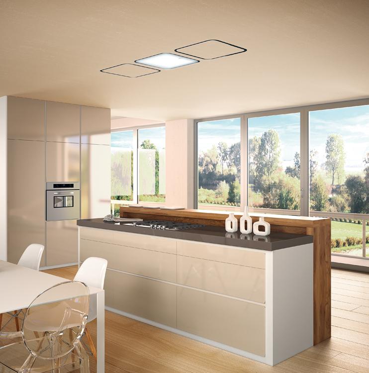 Campanas de techo luminosas y eficientes cocinas con estilo - Falso techo modular ...