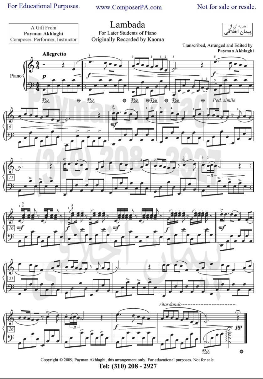 ноты для фортепиано ламбада