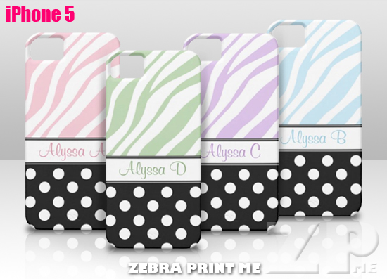 Black Polka Dot Zebra Print iPhone 5 Cases