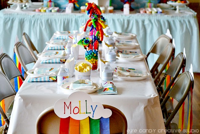 rainbow birthday party decor, rainbow place setting, rainbow table and chairs, rainbow rable decor