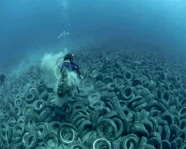 Two Million Used Tires Dumped in Ocean