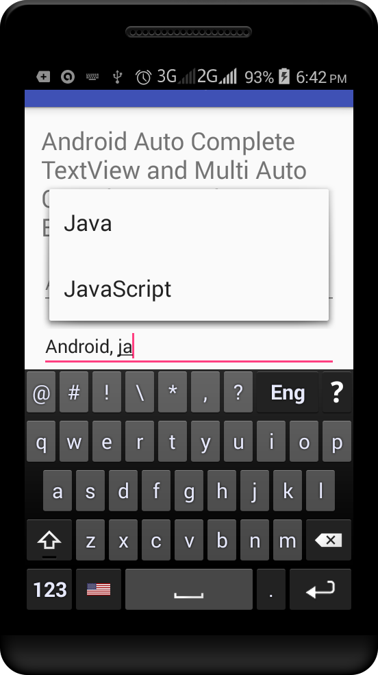 Android Auto Complete using AutoCompleteTextView and MultiAutoCompleteTextView