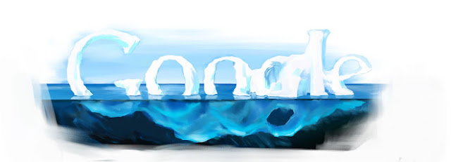"A melting glacier bobbing in water in the shape of the word, ""Google."""