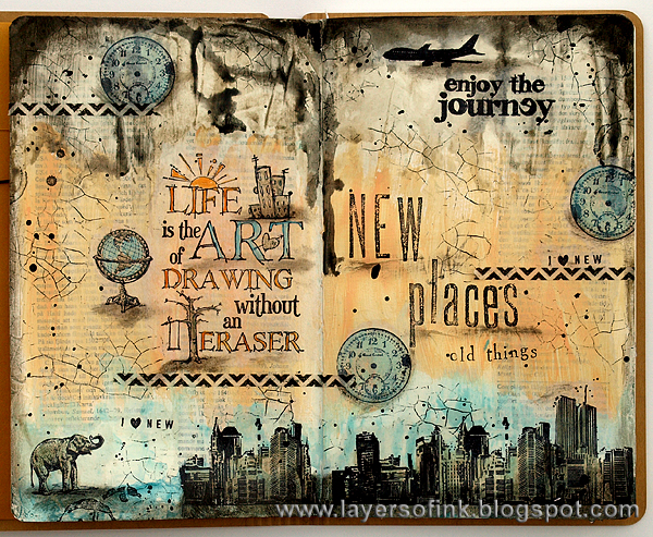Layers of ink - New Places art journal page by Anna-Karin