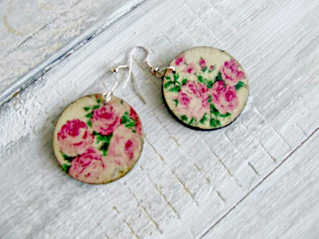 kolczyki decoupage serwetka kwiaty Eco Manufaktura