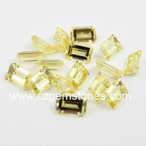 yellow emerald cut cubic zirconia