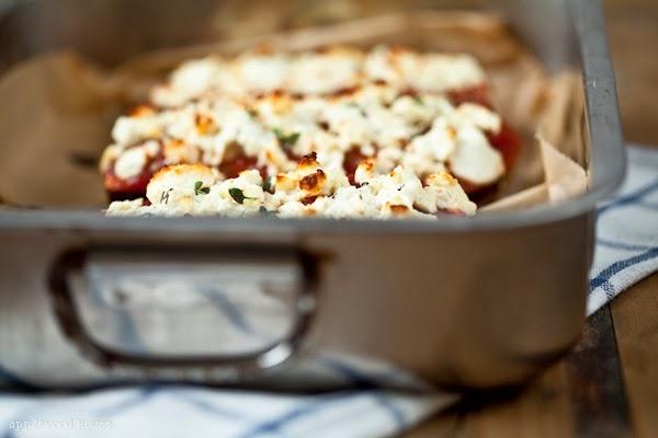 Vegetarische Auberginen Lasagne mit Schafskäse überbacken