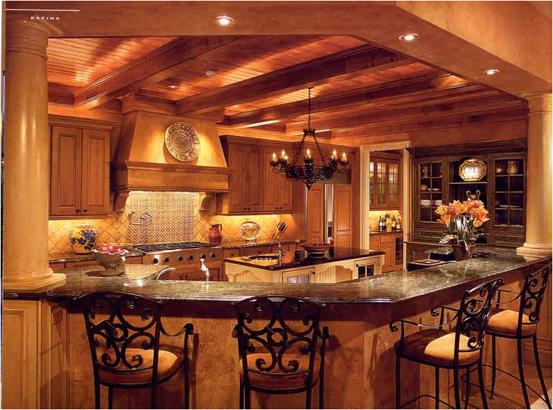 Yellow orange interior wall decor old world house furniture Old world tuscan kitchen designs