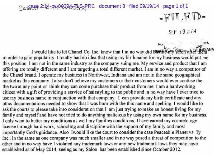 Chanel Jones' court answer to Chanel trademark claim