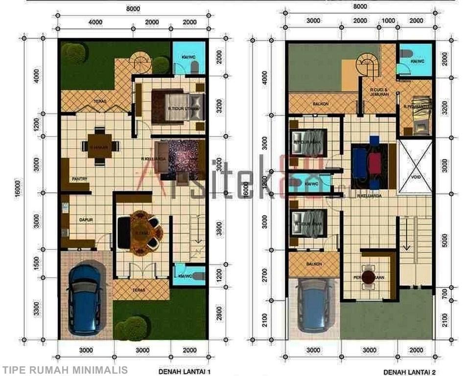 rumah 2 lantai model modern minimalis terdiri 3 kamar tidur