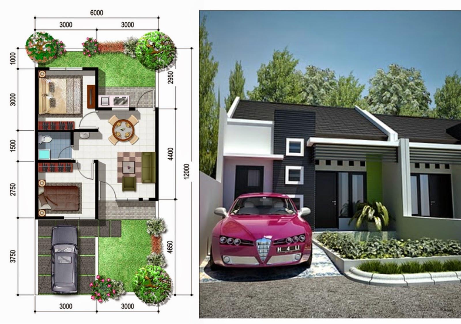 Design Rumah Minimalis Sederhana type 36 hijau