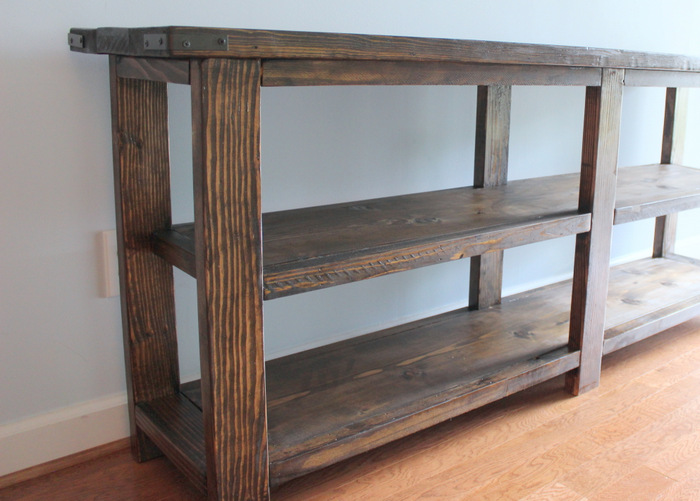 Our weekend diy rustic console table home sweet ruby for 6ft sofa table