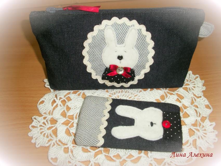 косметичка и чехол для телефона handmade