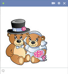 Married teddy bears sticker for Facebook