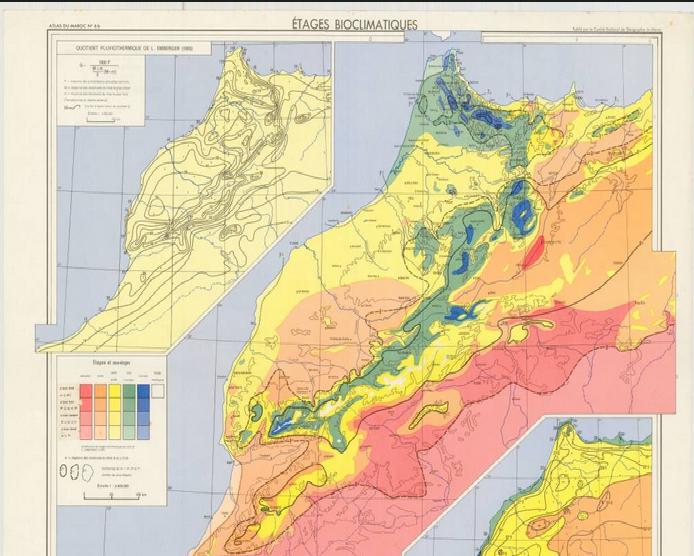 خريطة المستويات الحيمناخية (البيومناخية) للمغرب حسب معامل Emberger   Carte des Etages Bioclimatiques d'Emberger  الخريطة النباتية للمغرب لأمبرجي  Carte Phytogéographique d'Emberger  خريطة مؤشر Gaussen (الرباط )   Carte d'indice de Gaussen (Rabat)  خريطة مؤشر Gaussen (وجدة)   Carte d'indice de Gaussen (Oujda)