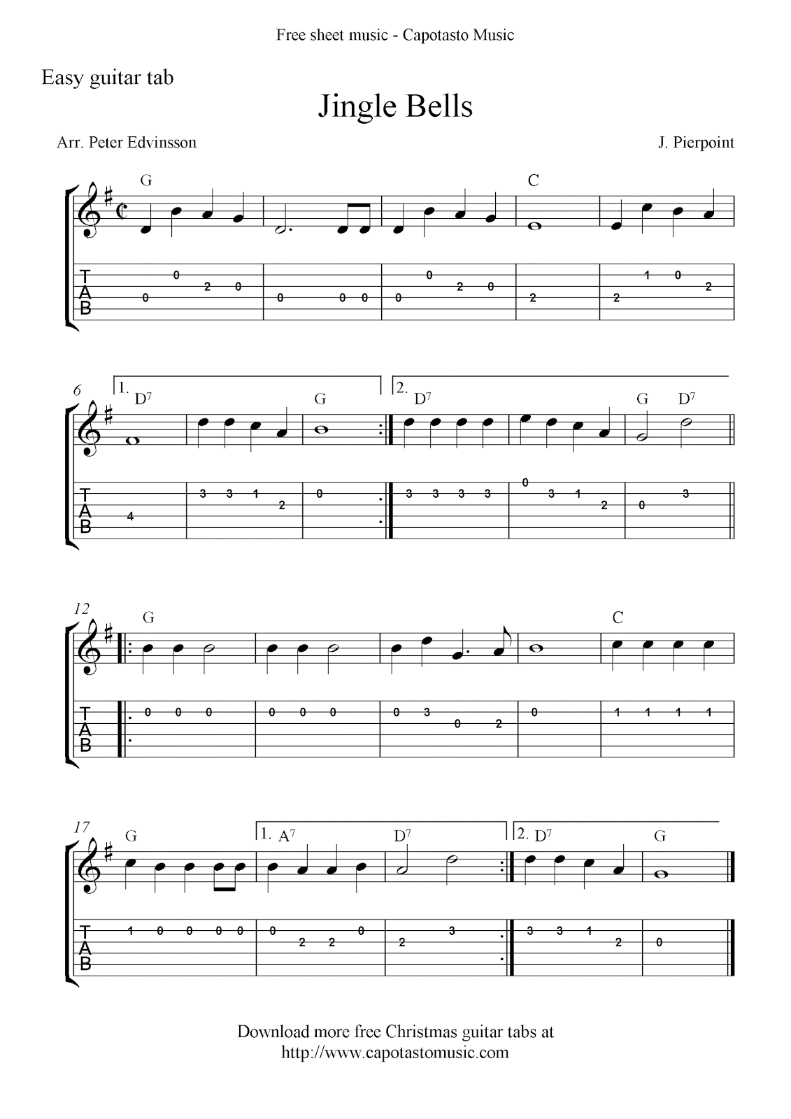 Jingle Bells, free Christmas guitar tabs and sheet music