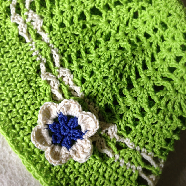 cotton green crochet hat with flower