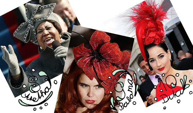 paloma faith, aretha franklin, dita von teese, hat