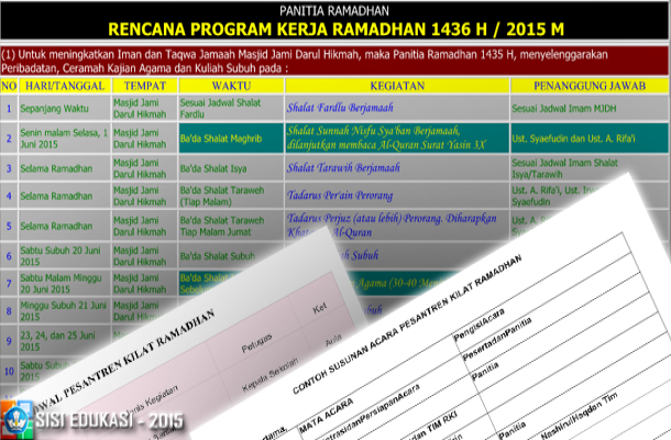 Contoh Susunan Acara dan Jadwal Pesantren Kilat serta Rencana Program Kerja Kegiatan Ramadhan 1436 H / 2015 M