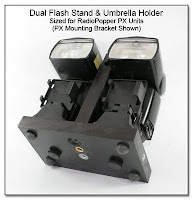Dual Flash Stand & Umbrella Bracket - Sized for RadioPopper PX Mounting Brackets