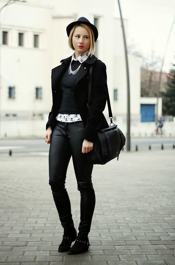 black white leather skulls