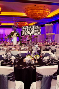 Crystal Candelabras And Chandelier Style Centerpieces Added The Formal Touch Couple Desired For Their Wedding Reception Design Elevated On Tables
